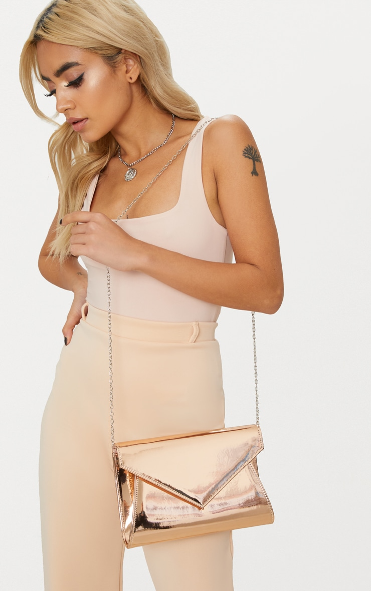 Rose Gold Chain Cross Body Bag