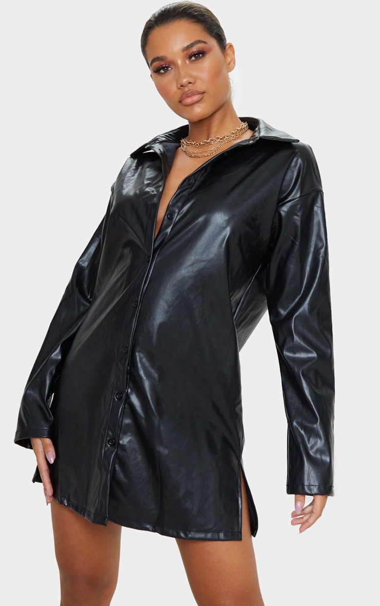 Black Faux Leather Oversized Shirt Dress 4