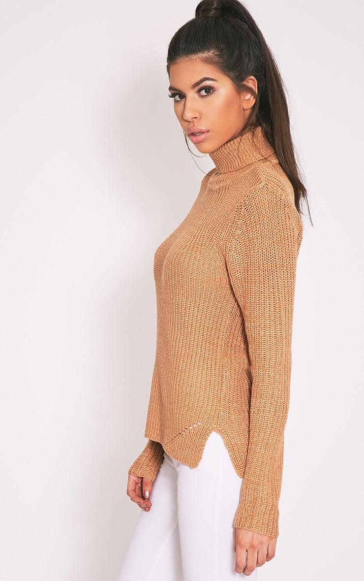 Soraya pull tricoté à col roulé brun 4