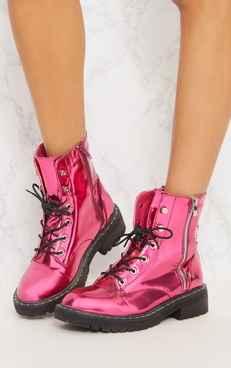 Pink Metallic Chunky Lace Up Boot 3