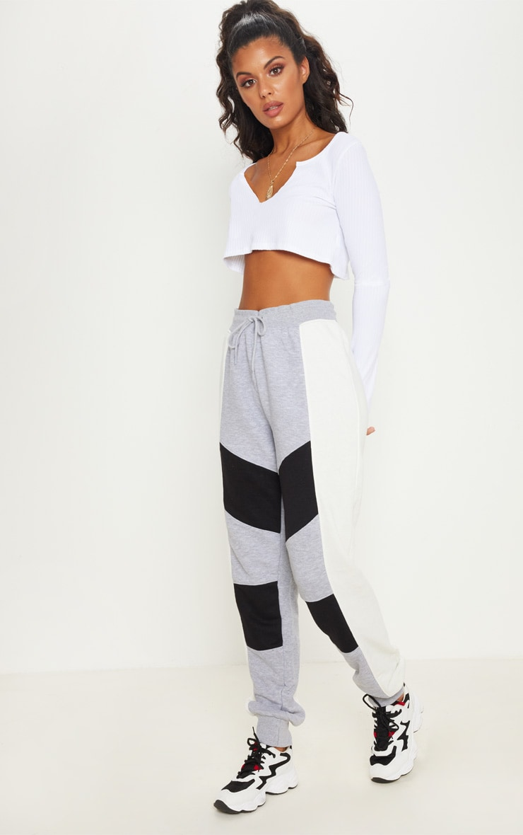 Grey Contrast Panel Cuff Jogger