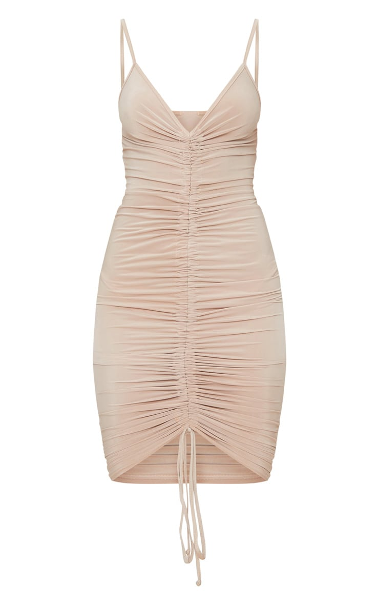 Lucie Nude Strappy Ruched Midi Dress 3