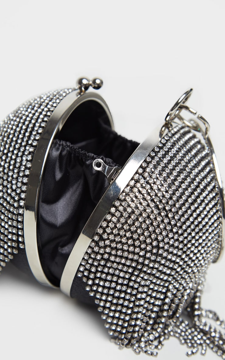 Black With Silver Diamante Tassel Sphere Clutch 3