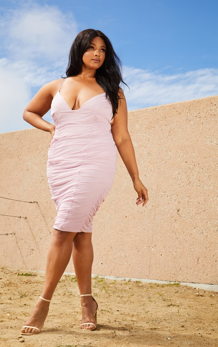 Plus Lilac Second Skin Ruched Mesh Plunge Midi Dress 4