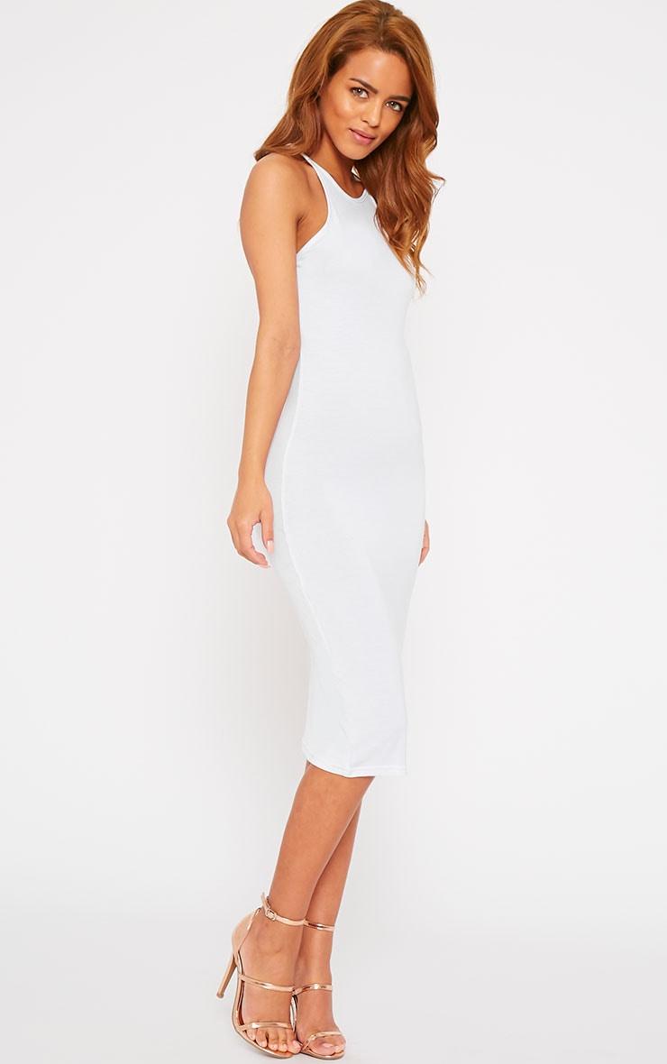 Natasha White Thin Strap Racer Neck Jersey Midi Dress 3