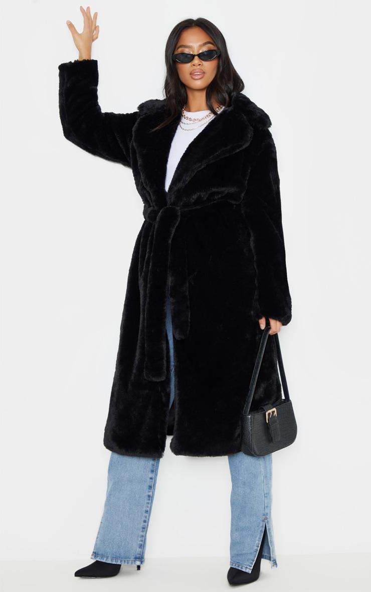 Petite Black Belted Faux Fur Coat 1