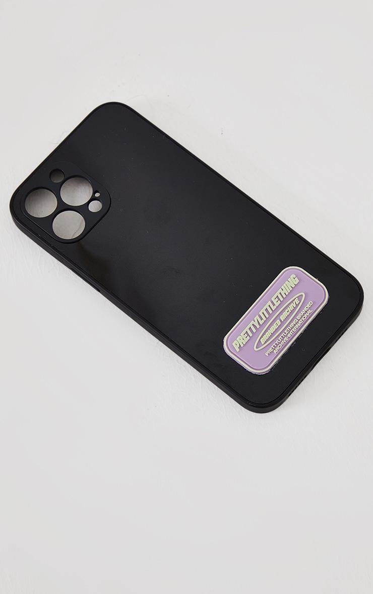 PRETTYLITTLETHING - Coque noire à imprimé Branded Archive pour iPhone 12 Pro Max 3