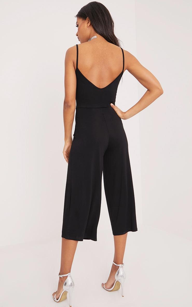 Kailyn Black Jersey Culotte Jumpsuit 2