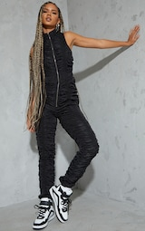 Black Ruched Shell Sleeveless Zip Jumpsuit 1