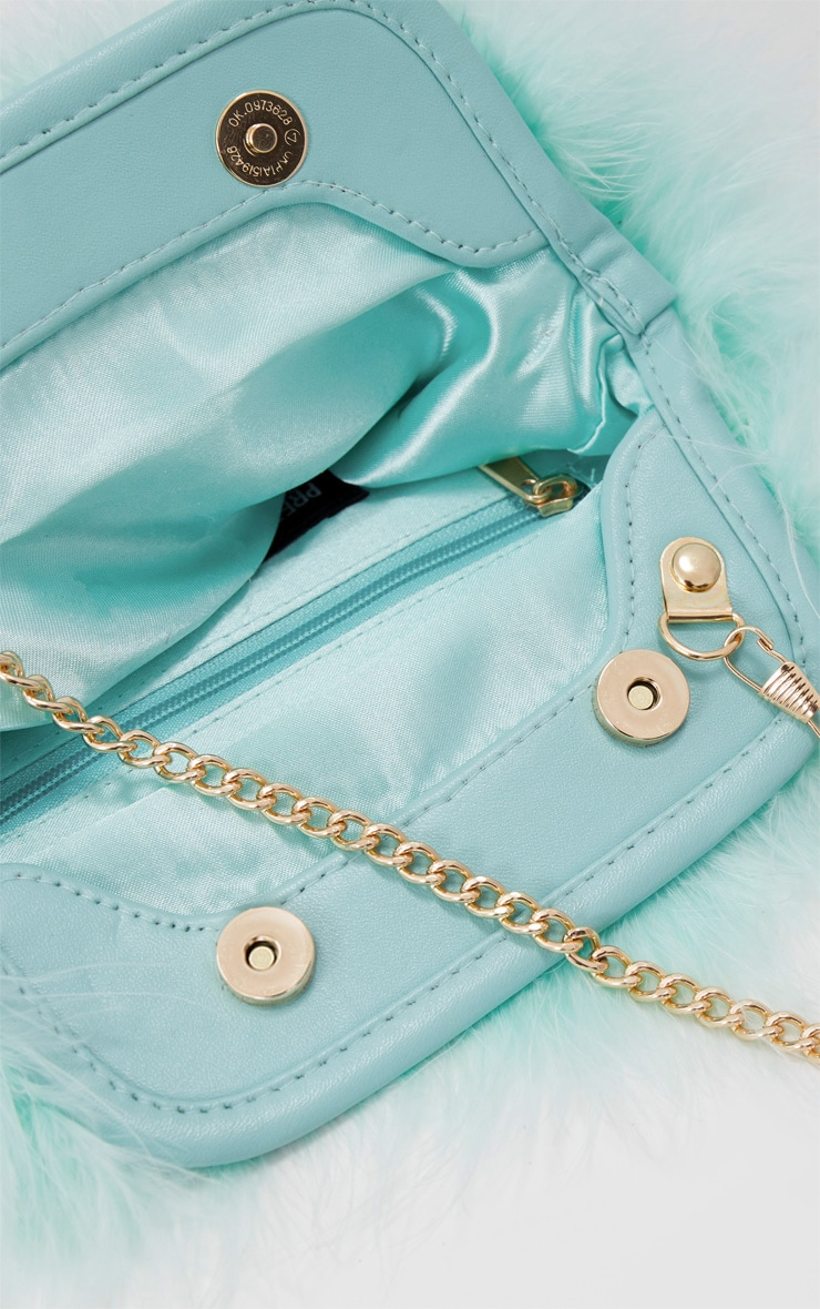 Mint Marabou Feather Clutch Bag 5