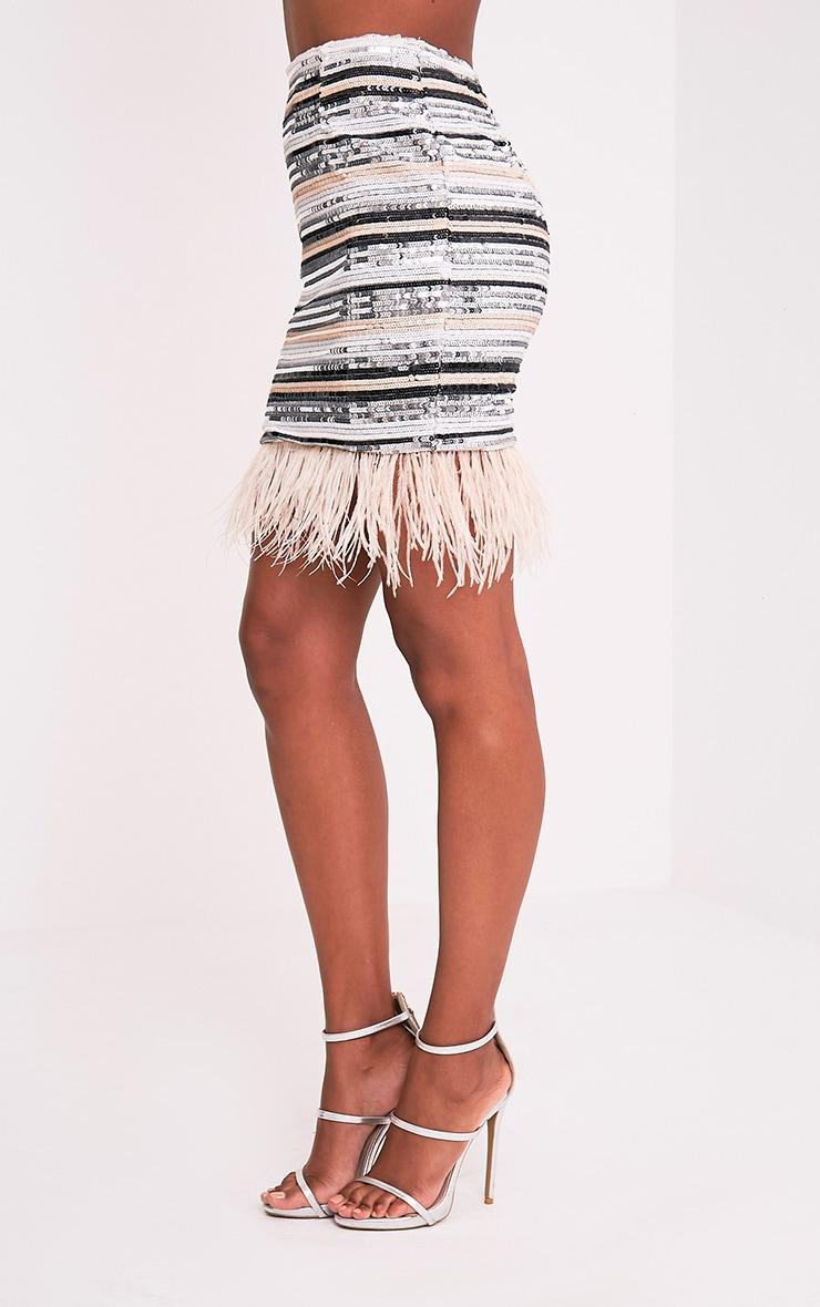 Elva Nude Feather Trim Sequin Mini Skirt 3