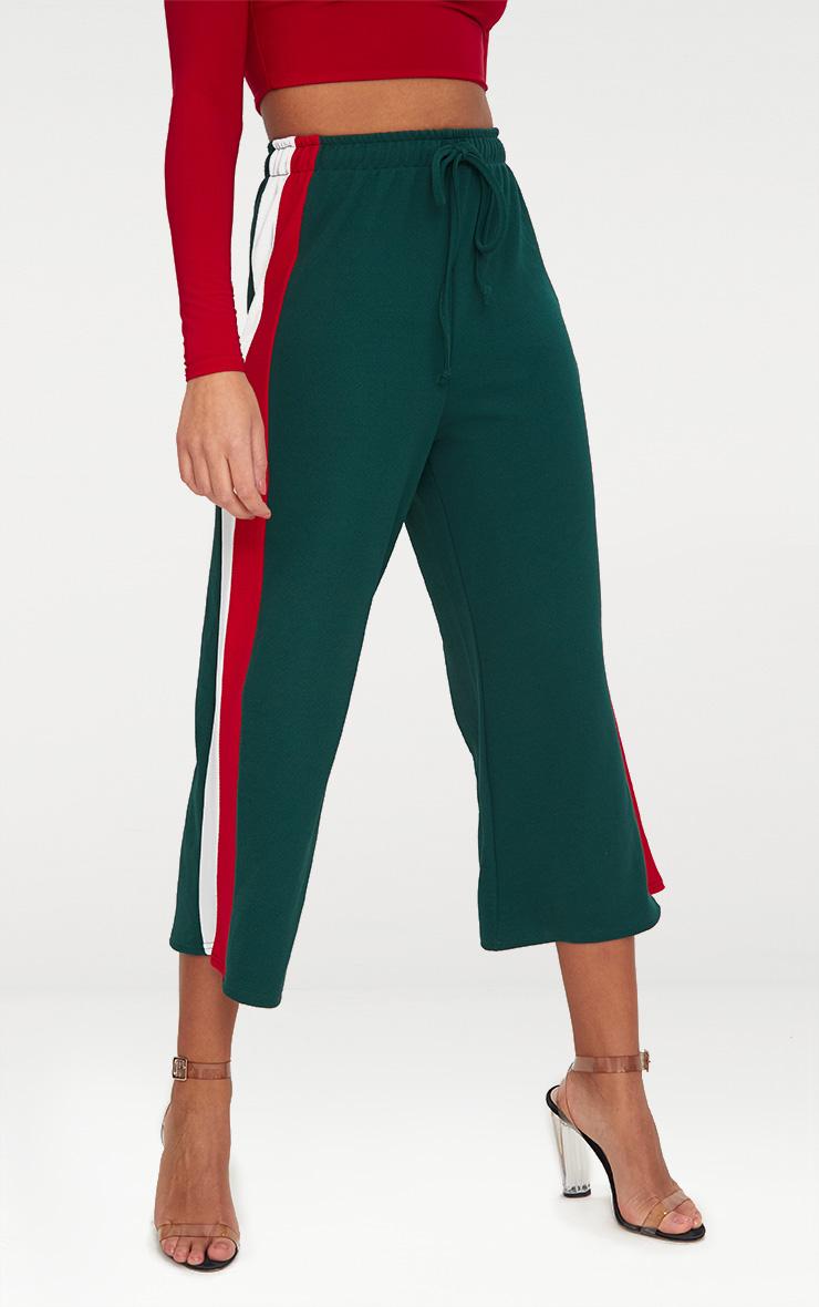 Emerald Green Side Stripe Drawstring Culottes 2