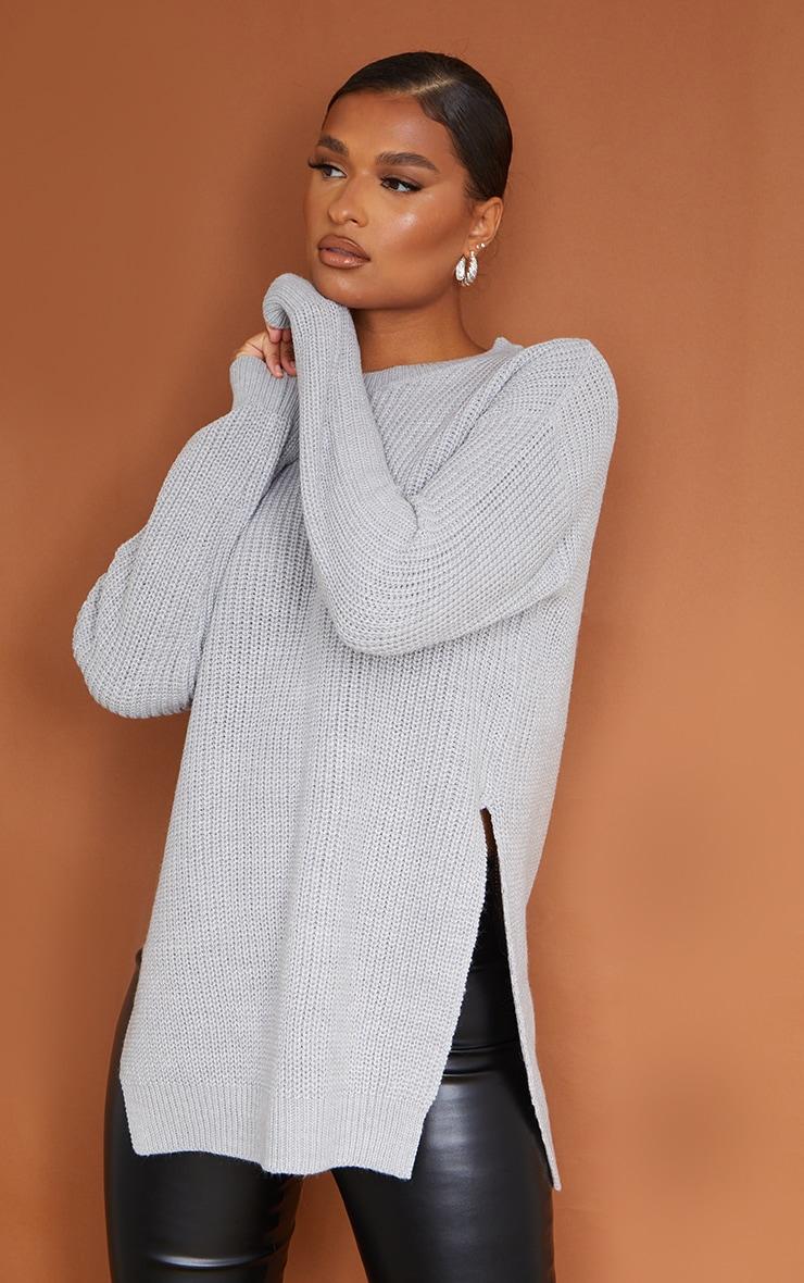 Grey Round Neck Side Split Sweater 1