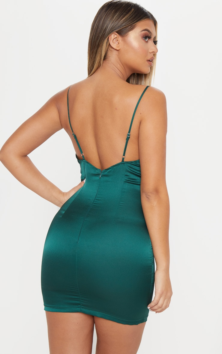 Emerald Green Satin Cowl Neck Ring Detail Bodycon Dress 2