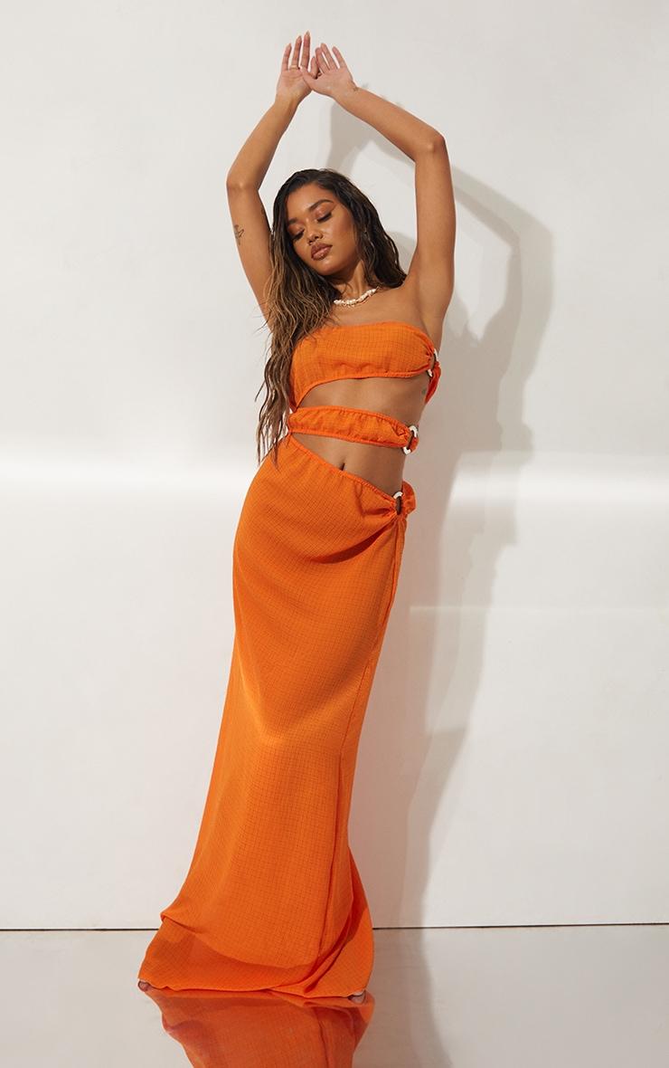 Orange Mini Crinkle Ring Cut Out Beach Dress 3