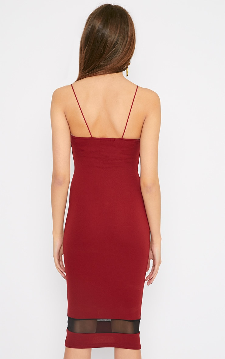 Leah Burgundy Mesh Insert Midi Dress 2