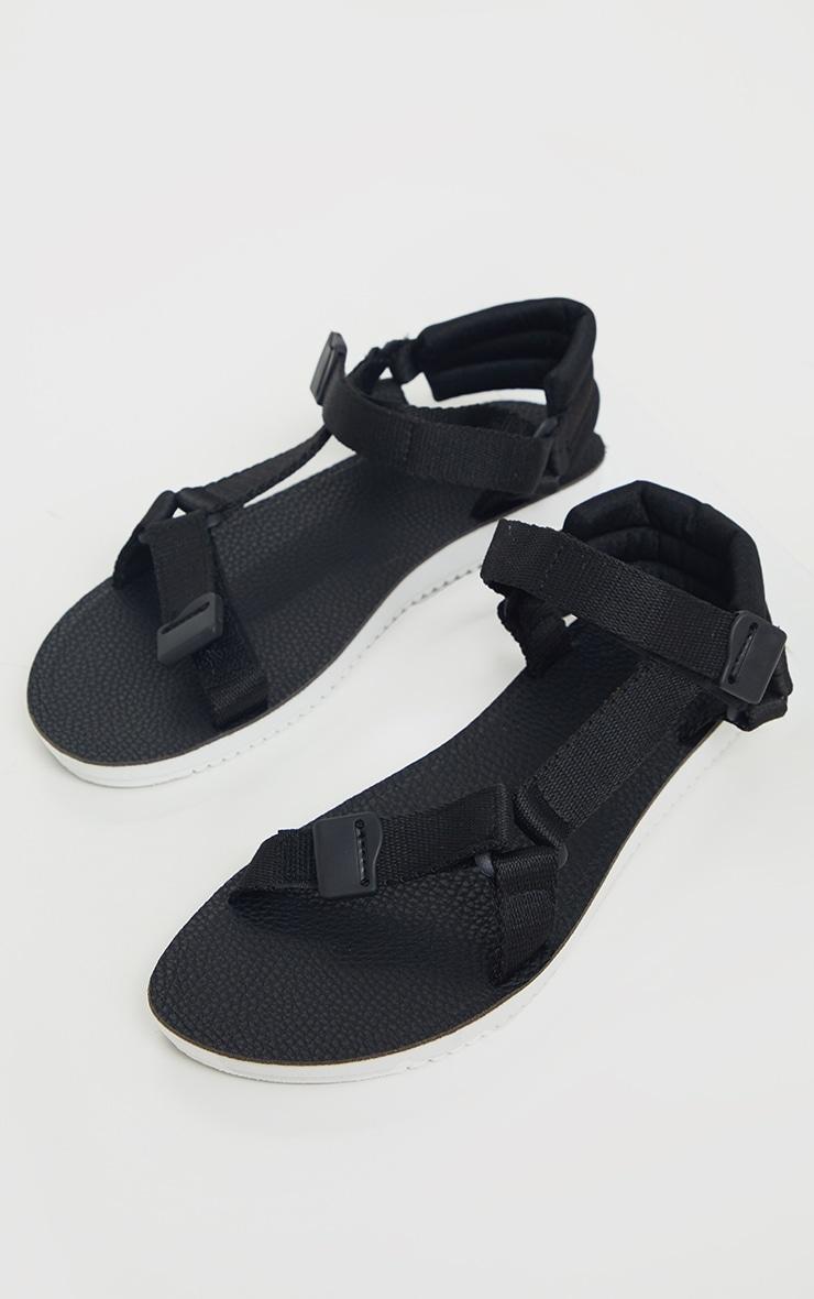 Black Velcro Strap Sandals   Shoes