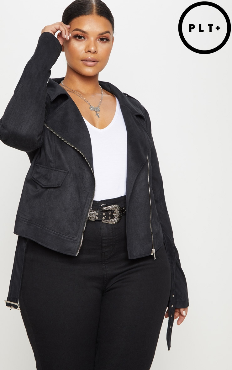 Plus Black Faux Suede Biker Jacket 1