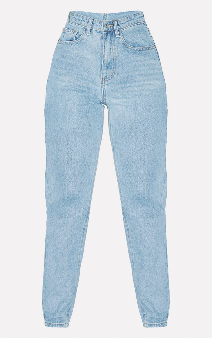 PRETTYLITTLETHING Light Wash Mom Jean 3