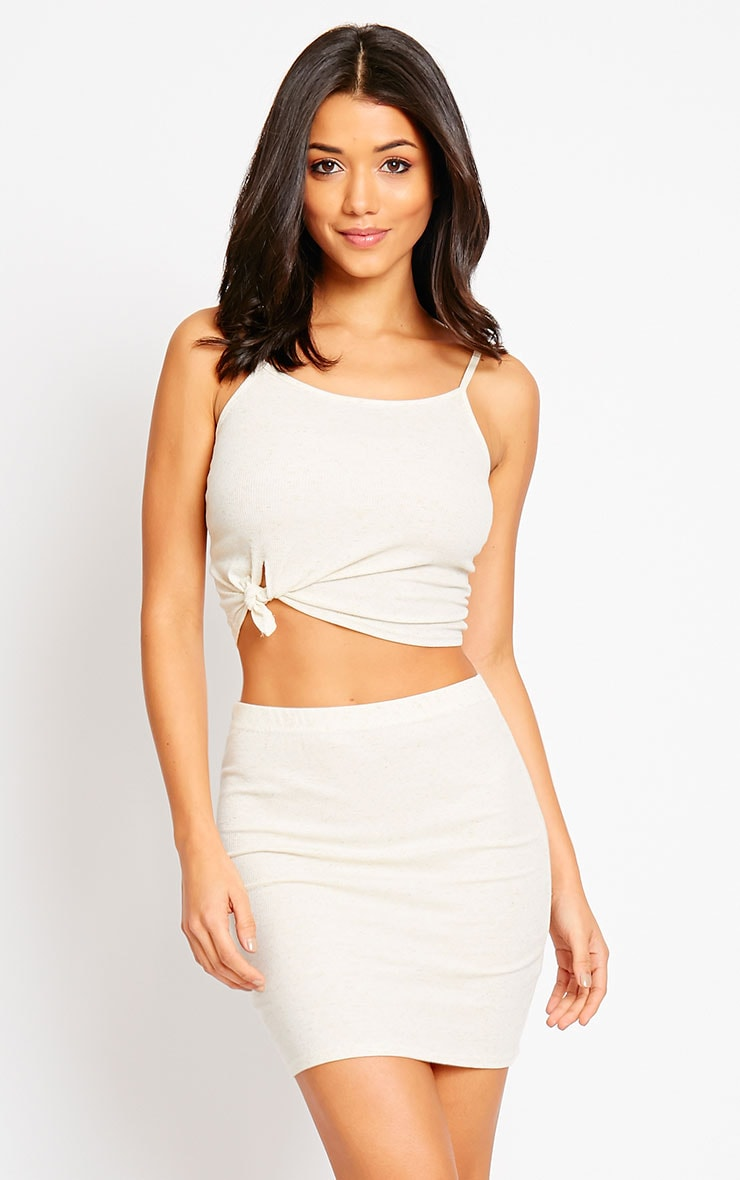 Honey Cream Ribbed Knot Crop Top 1