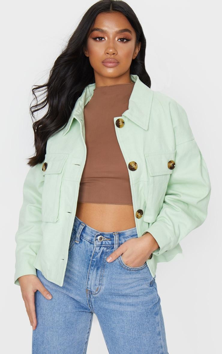 Petite Sage Green Cord Oversized Jacket 1