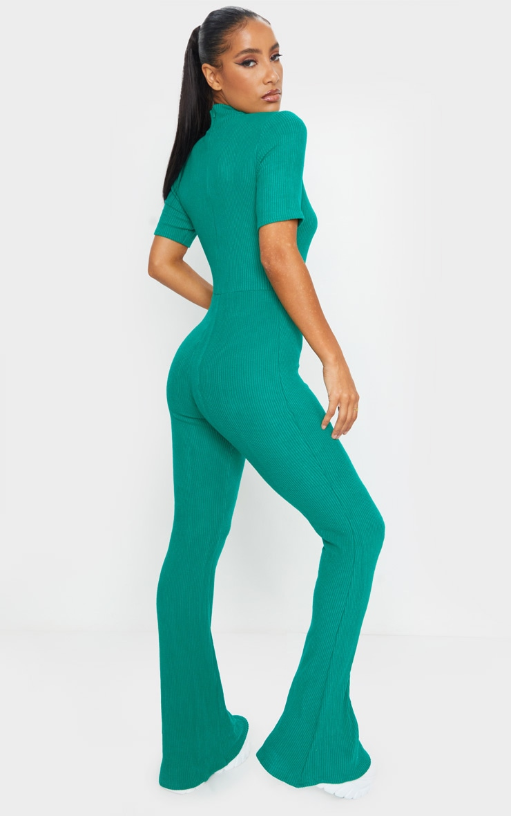 Emerald Green Brushed Rib High Neck Flared Jumpsuit 2