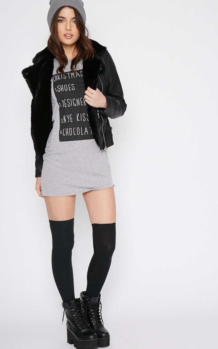 Mollie Grey Christmas List T-shirt Dress 3