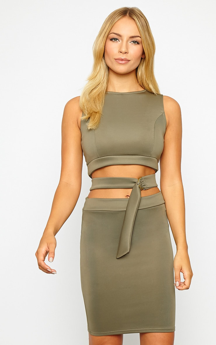 Belle Khaki Belted Mini Dress 1