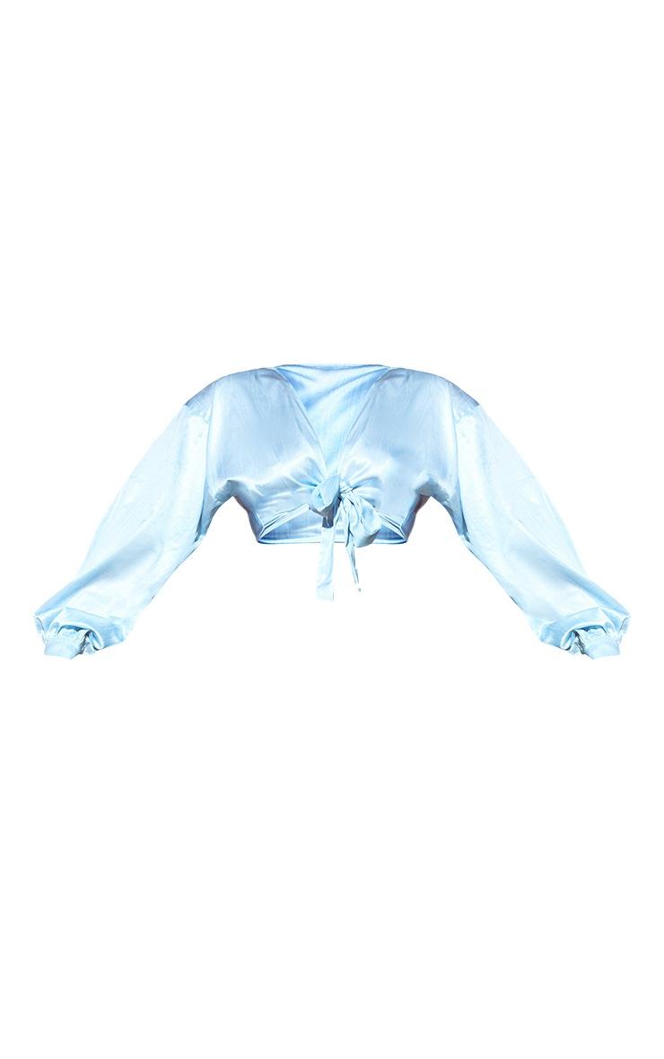 Plus Light Blue Printed Satin Tie Front Blouse 6