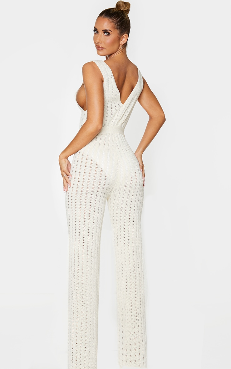 Cream Crochet Knitted Belted Jumpsuit 2