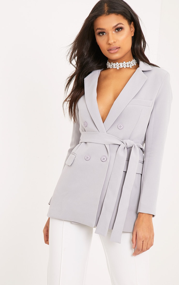 Rebecca Light Grey Belted Blazer 1