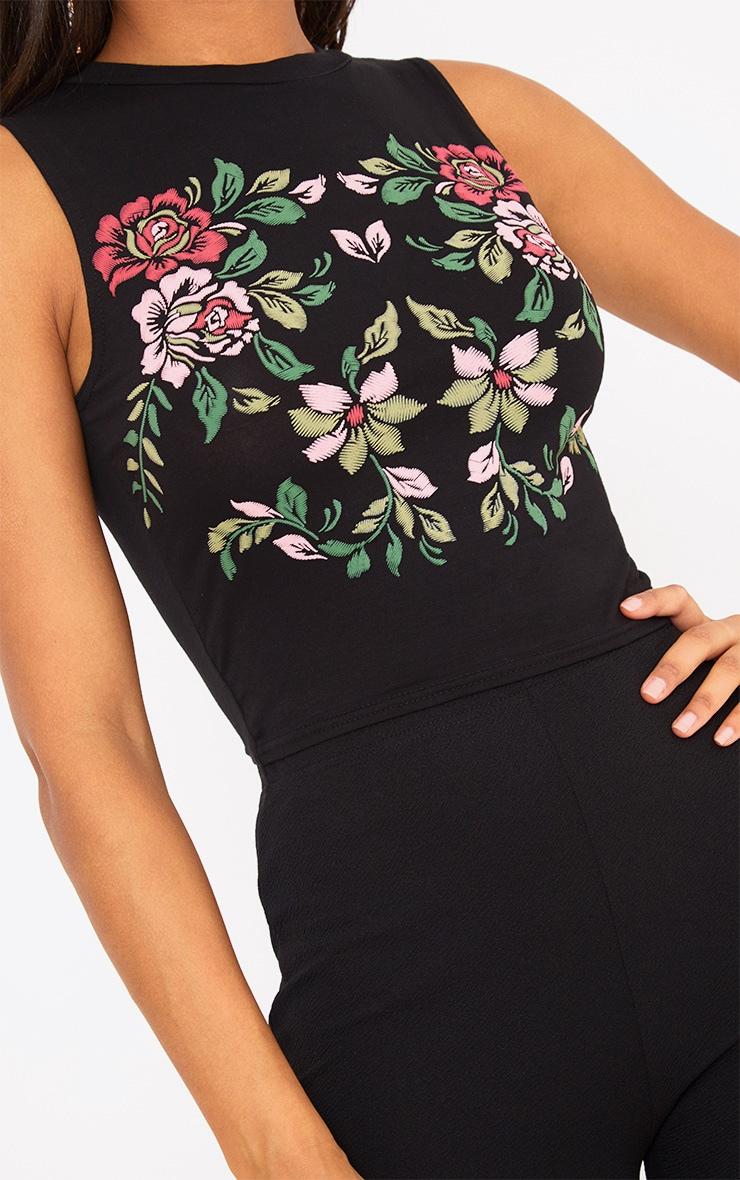 Black Floral Puff Print Crop Top  5