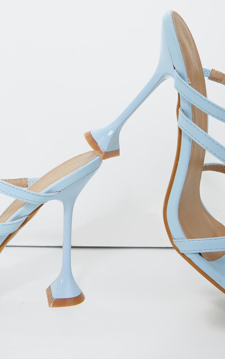Blue Toe Loop Multi Strap Cake Stand Heel Mules 3