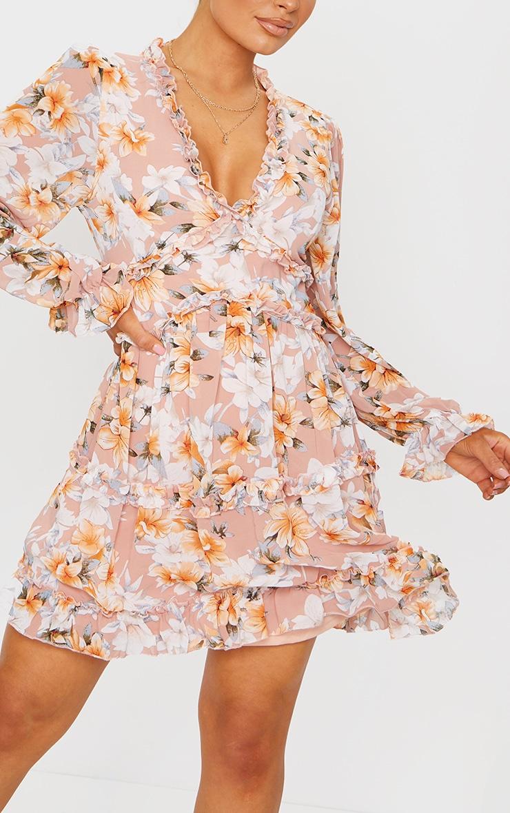 Peach Floral Frill Smock Dress 4