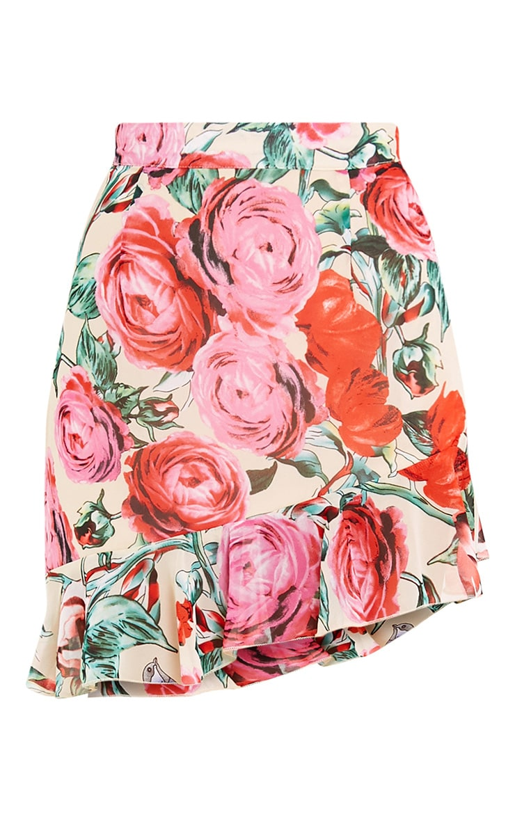 Ezra Cream Floral Frill Hem Mini Skirt  3