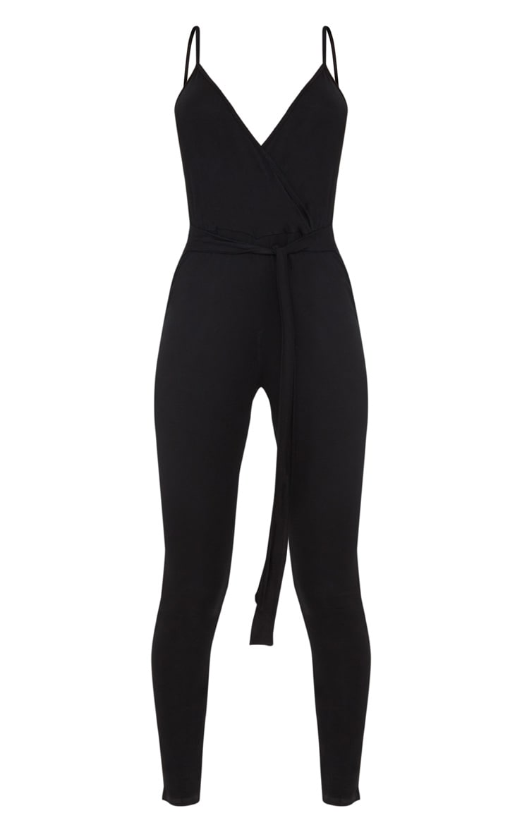 Black Strappy Jersey Wrap Tie Waist Jumpsuit 3