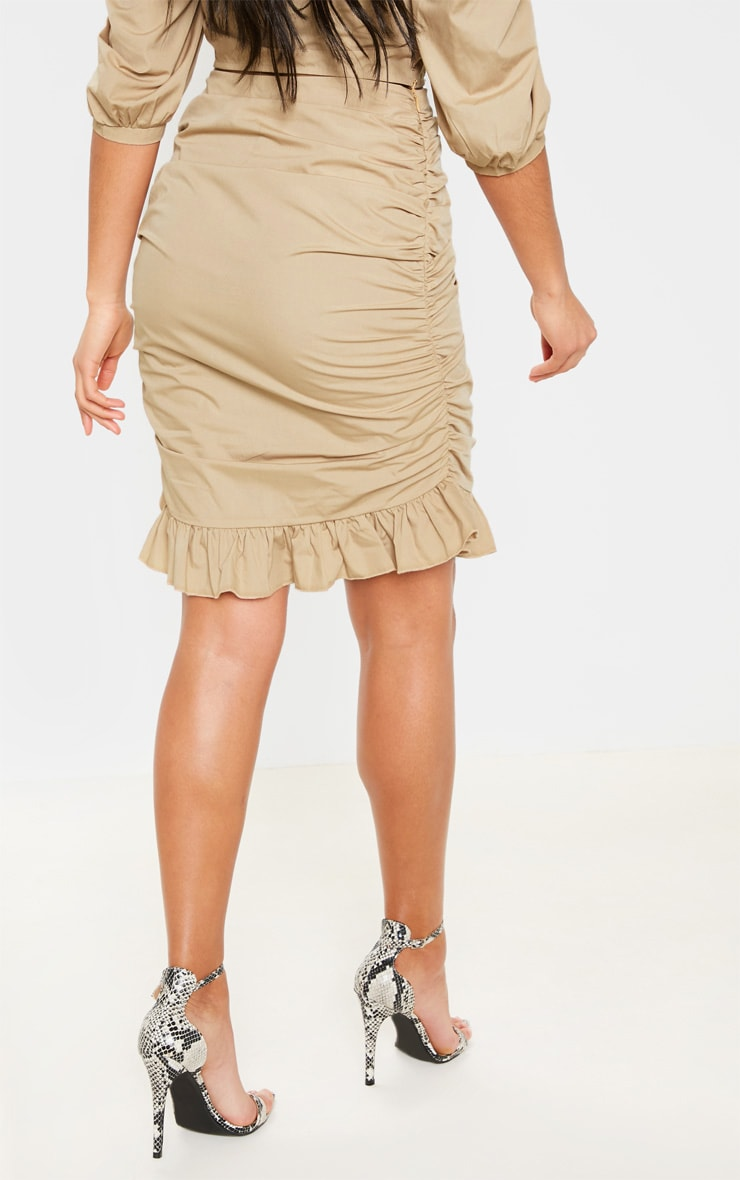 Stone Ruched Detail Frill Hem Skirt 4