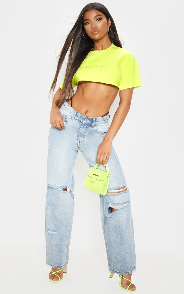 Bleach Wash Baggy Low Rise Distressed Boyfriend Jean image 1