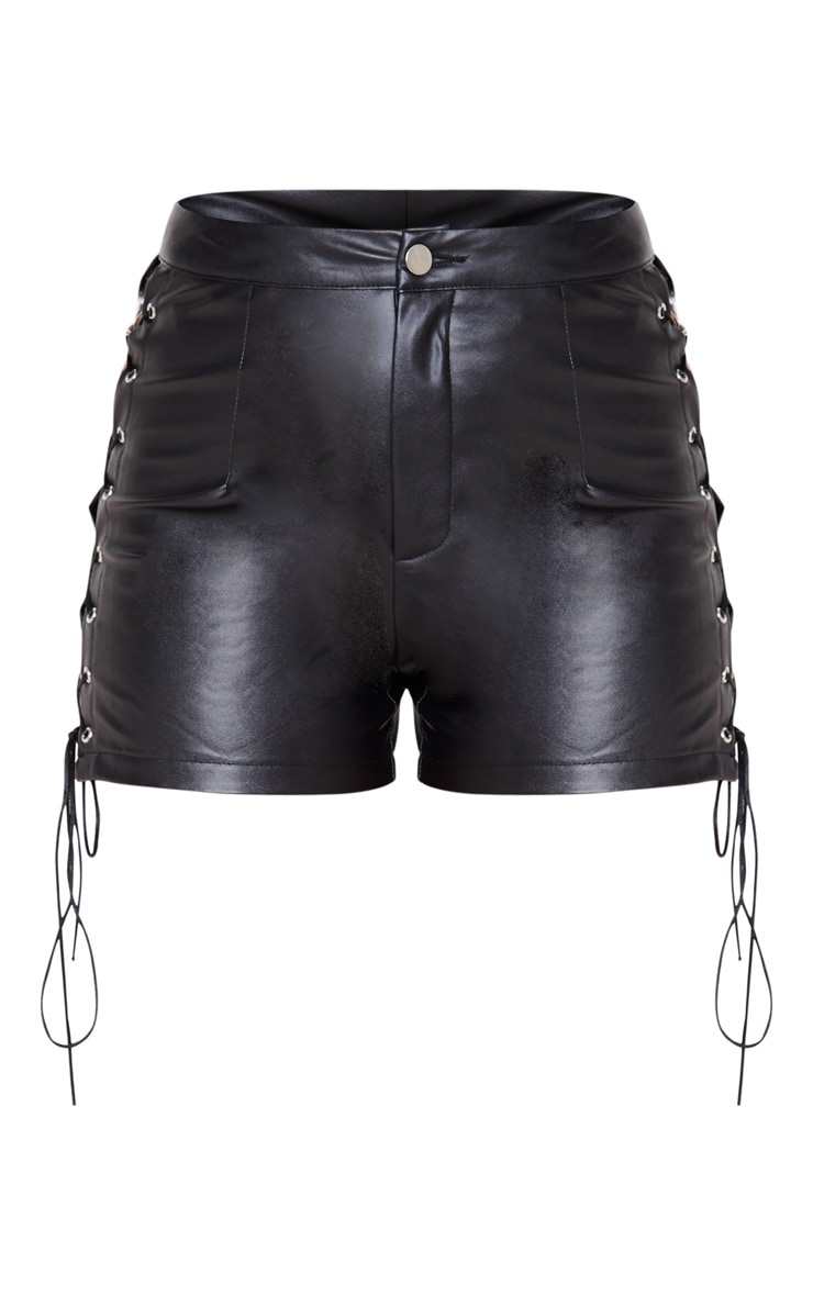 Black Faux Leather Lace Up Sides Short 3