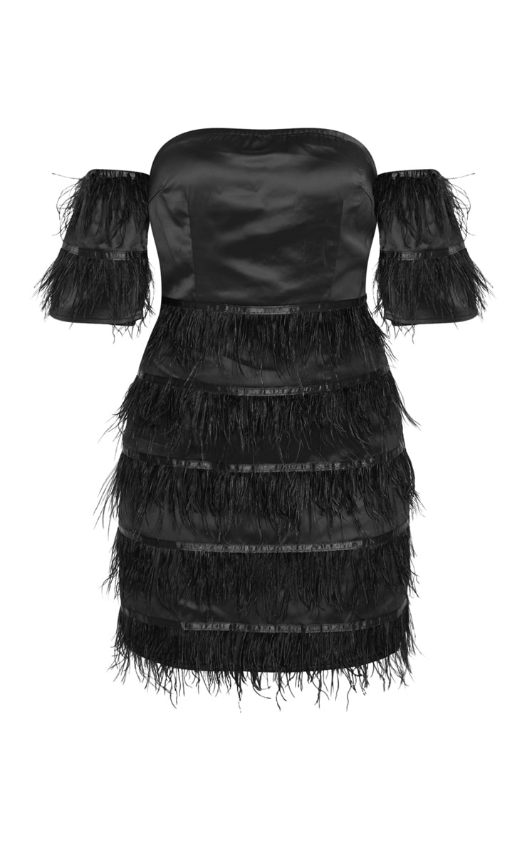 Black Satin Feather Tiered Bodycon Dress 3