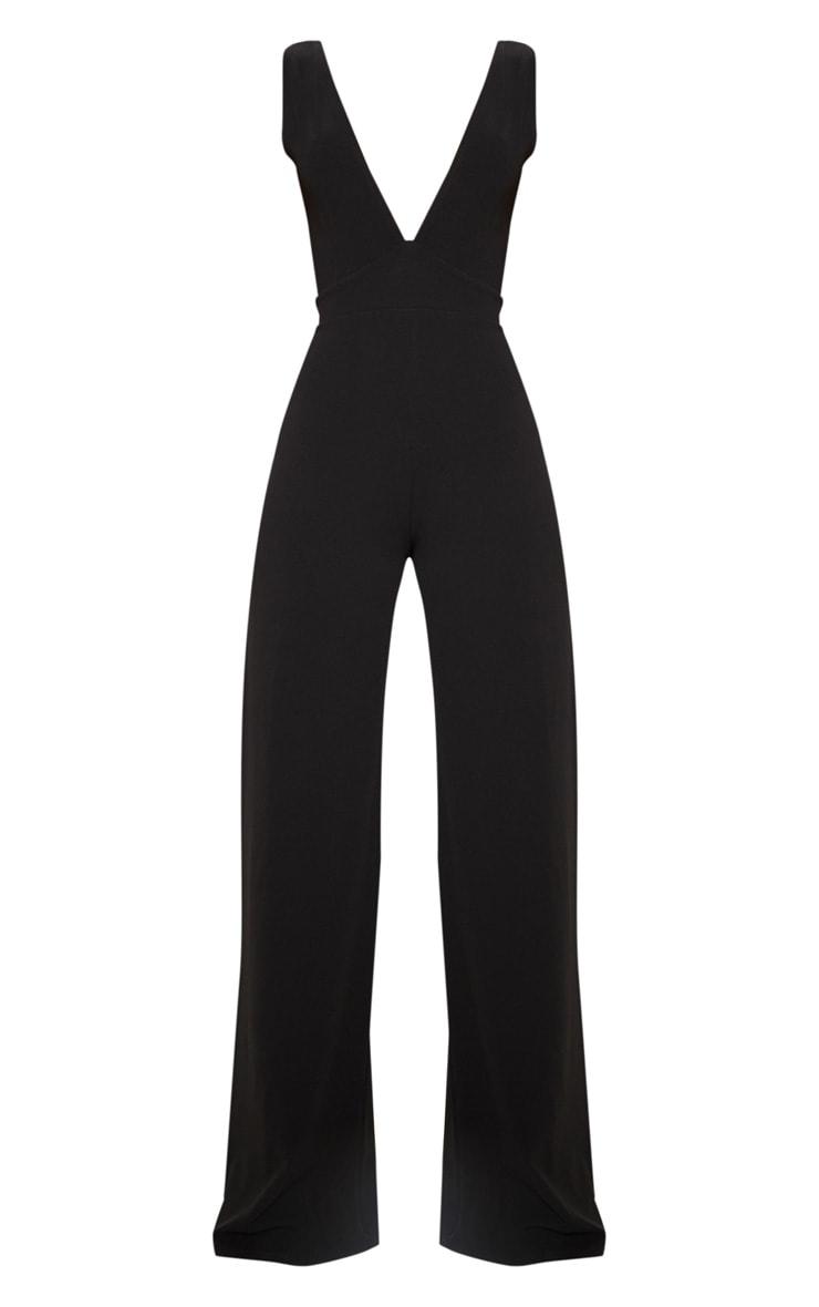 Black Plunge Backless Wide Leg Jumpsuit 3