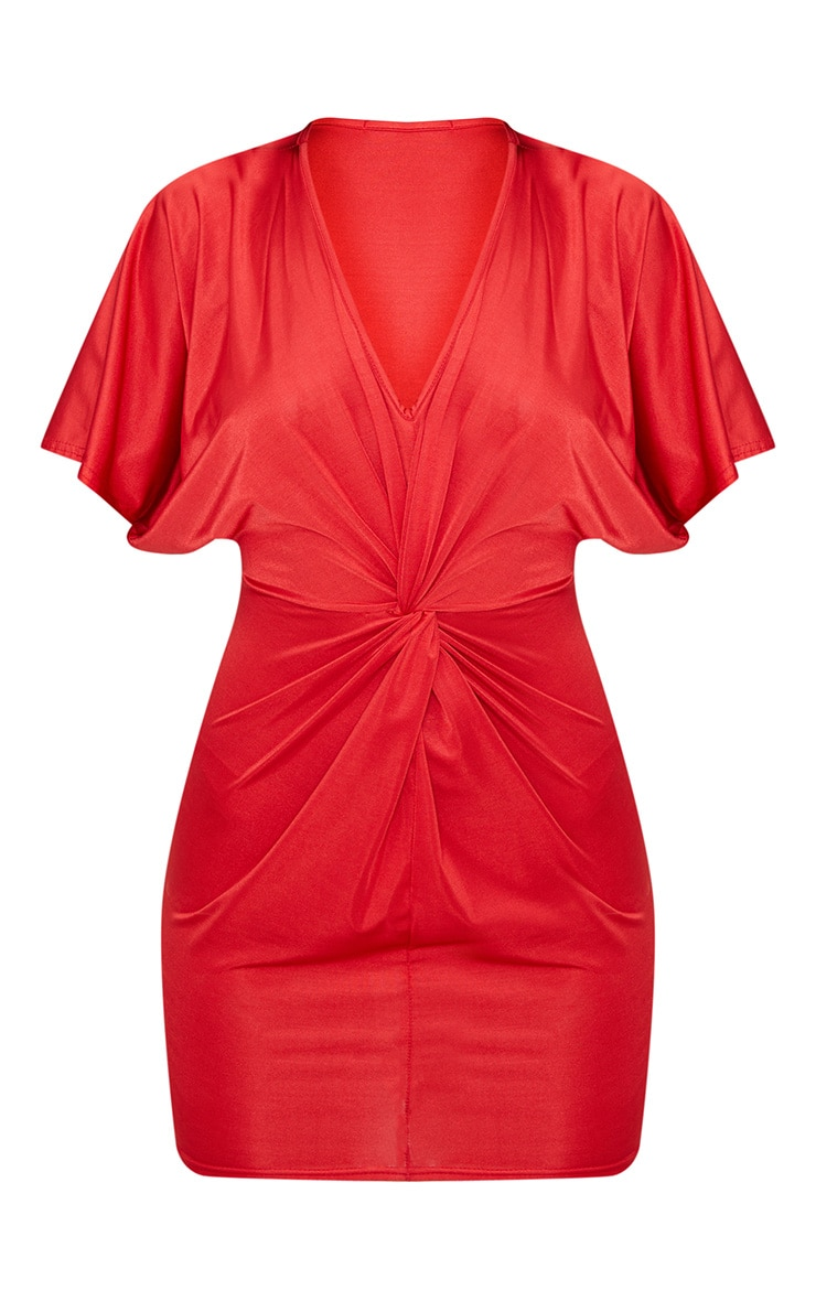 Red Batwing Knot Detail Bodycon Dress 3