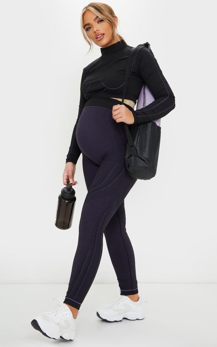 Maternity Black Seamless Gym Leggings 1