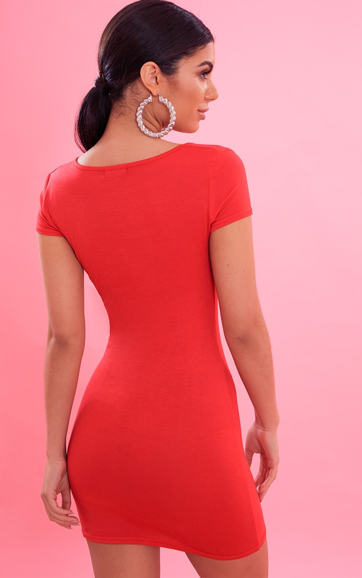 Red Plunge Front Cap Sleeve Bodycon Dress 3
