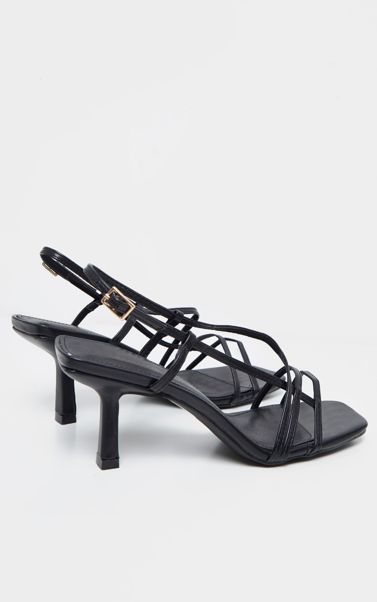 Black Low Heel Strappy Sandal 4