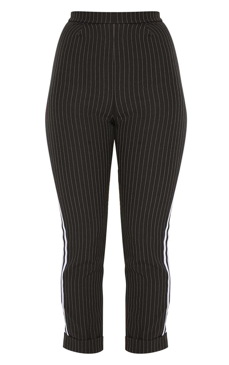 Black Pinstripe Tapered Side Stripe Turn Up Hem Trouser 3