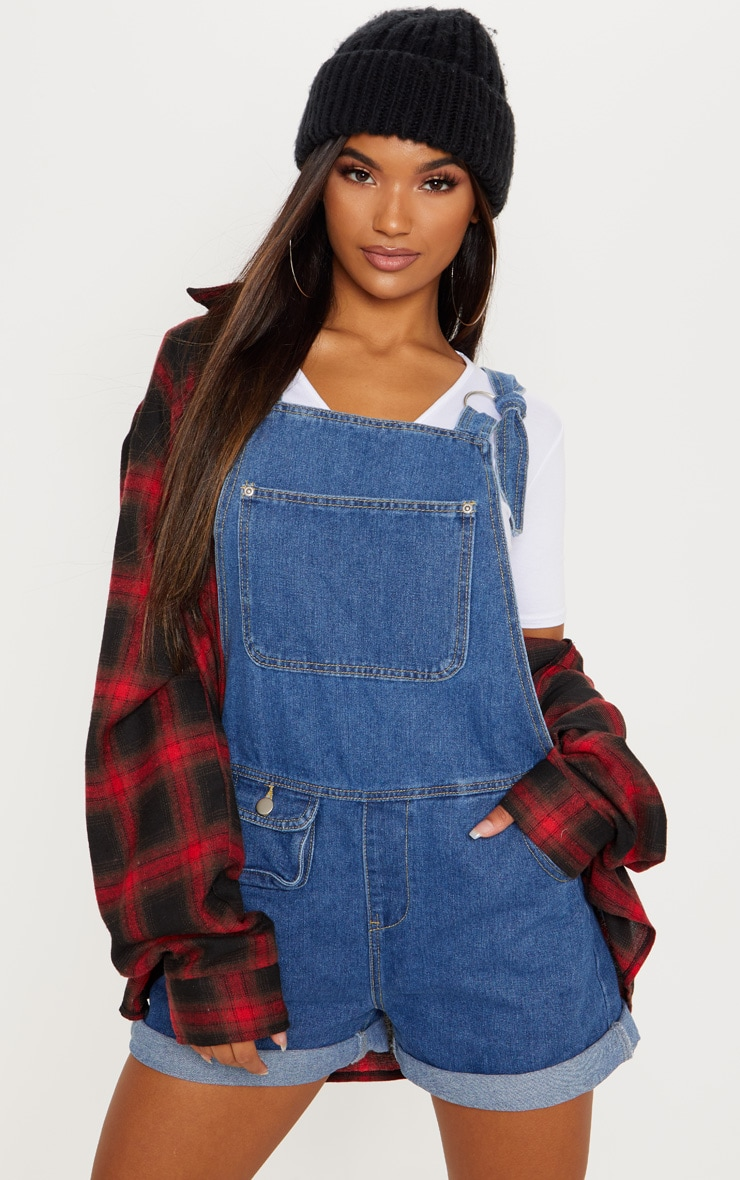 Mid Wash Short Dungaree 4