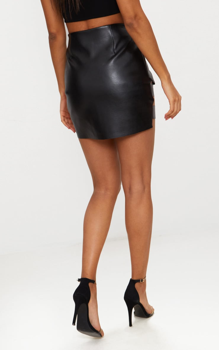 Black Faux Leather Pointed Hem Mini Skirt 4