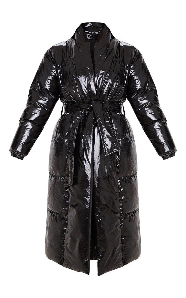 Black Shine Puffer Maxi Coat 3