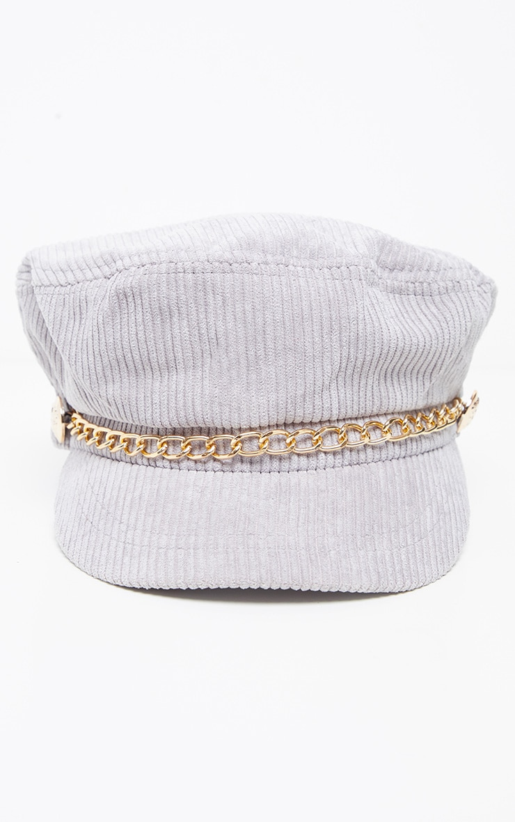 Grey Cord Baker Boy With Gold Chain Detail 2